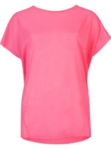 Ted Baker Cordel Crew Neck T Shirt - pattern: plain; style: t-shirt; predominant colour: hot pink; occasions: casual, work; length: standard; fibres: polyester/polyamide - 100%; fit: straight cut; neckline: crew; sleeve length: short sleeve; sleeve style: standard; trends: fluorescent; pattern type: fabric; pattern size: standard; texture group: jersey - stretchy/drapey