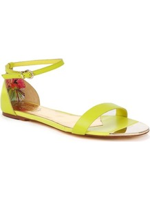 Ted Baker Ballena Flat Leather Sandals - predominant colour: lime; occasions: casual, work, holiday; material: leather; heel height: flat; embellishment: buckles; ankle detail: ankle strap; heel: standard; toe: open toe/peeptoe; style: gladiators; trends: fluorescent; finish: plain; pattern: plain