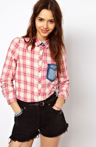 Pretty Check Western Shirt - neckline: shirt collar/peter pan/zip with opening; pattern: checked/gingham; style: shirt; predominant colour: pink; occasions: casual; length: standard; fibres: cotton - 100%; fit: straight cut; sleeve length: long sleeve; sleeve style: standard; pattern type: fabric; pattern size: standard; texture group: woven light midweight