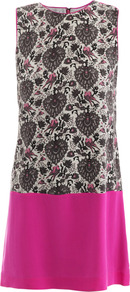 Love Bird Print Shift Dress - style: shift; sleeve style: sleeveless; predominant colour: hot pink; secondary colour: taupe; occasions: evening, occasion; length: just above the knee; fit: straight cut; fibres: silk - 100%; neckline: crew; sleeve length: sleeveless; texture group: silky - light; pattern type: fabric; pattern size: small &amp; busy; pattern: patterned/print