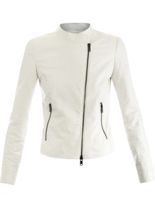 Collarless Moto Leather Jacket - pattern: plain; style: biker; collar: asymmetric biker; fit: slim fit; predominant colour: white; occasions: casual, evening, work; length: standard; fibres: leather - 100%; sleeve length: long sleeve; sleeve style: standard; texture group: leather; collar break: high; pattern type: fabric; pattern size: standard