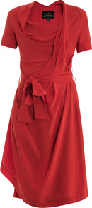 Daisy Drape Dress - neckline: cowl/draped neck; fit: fitted at waist; pattern: plain; waist detail: belted waist/tie at waist/drawstring; bust detail: ruching/gathering/draping/layers/pintuck pleats at bust; predominant colour: true red; secondary colour: true red; occasions: evening, occasion; length: just above the knee; style: asymmetric (hem); fibres: viscose/rayon - 100%; hip detail: soft pleats at hip/draping at hip/flared at hip; sleeve length: short sleeve; sleeve style: standard; pattern type: fabric; texture group: jersey - stretchy/drapey