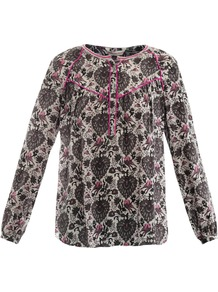 Love Bird Print Shirt - predominant colour: charcoal; occasions: casual, work; length: standard; style: top; fibres: silk - 100%; fit: straight cut; neckline: crew; sleeve length: long sleeve; sleeve style: standard; texture group: sheer fabrics/chiffon/organza etc.; pattern type: fabric; pattern size: standard; pattern: patterned/print