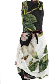 Rose Puzzle Print Dress - sleeve style: sleeveless; neckline: high neck; waist detail: belted waist/tie at waist/drawstring; secondary colour: ivory; predominant colour: black; occasions: casual; length: just above the knee; fit: fitted at waist & bust; style: asymmetric (hem); fibres: cotton - 100%; hip detail: ruching/gathering at hip; sleeve length: sleeveless; texture group: cotton feel fabrics; pattern type: fabric; pattern size: big & busy; pattern: florals