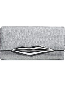 Carolina Lips Clutch - predominant colour: silver; occasions: evening, occasion; type of pattern: light; style: clutch; length: hand carry; size: small; material: leather; pattern: plain; trends: metallics; finish: metallic; embellishment: chain/metal