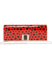 Rachel Polka Dot Clutch Bag - predominant colour: true red; occasions: evening, occasion; type of pattern: standard; style: clutch; length: hand carry; size: small; material: faux leather; pattern: polka dot; finish: patent; embellishment: chain/metal