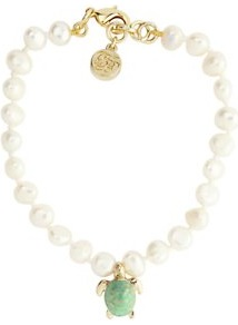 Turtle Pearl Friendship Bracelet, Gold - predominant colour: ivory; secondary colour: pistachio; occasions: casual, work, holiday; style: friendship bracelet; size: small; material: chain/metal; finish: plain; embellishment: pearls