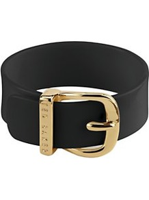 Narrow Belt Buckle Bangle, Black - predominant colour: black; occasions: casual, evening, work; type of pattern: standard; style: classic; size: standard; worn on: hips; material: leather; pattern: plain; finish: plain
