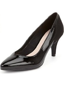 Pointed Toe Panelled Stiletto Court Shoes - predominant colour: black; occasions: evening, work; material: faux leather; heel height: mid; heel: stiletto; toe: pointed toe; style: courts; finish: patent; pattern: plain