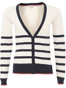 Navy Stripe V Neck Cardigan - neckline: plunge; pattern: horizontal stripes; predominant colour: navy; occasions: casual, work; length: standard; style: standard; fibres: acrylic - 100%; fit: slim fit; sleeve length: long sleeve; sleeve style: standard; texture group: knits/crochet; pattern type: knitted - fine stitch; pattern size: standard