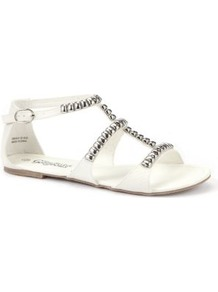 White Embellished Trim Sandals - predominant colour: white; occasions: casual, holiday; material: faux leather; heel height: flat; ankle detail: ankle strap; heel: standard; toe: open toe/peeptoe; style: strappy; finish: plain; pattern: plain; embellishment: chain/metal