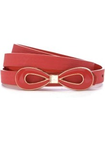 Coral Enamel Bow Skinny Waist Belt - predominant colour: coral; occasions: casual, work, occasion; style: plaque; size: skinny; worn on: waist; material: faux leather; pattern: plain; finish: plain; embellishment: bow