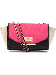 Black And Pink Winged Snake Print Chain Strap Bag - predominant colour: hot pink; occasions: casual, evening, occasion; type of pattern: standard; style: shoulder; length: across body/long; size: small; material: faux leather; finish: plain; pattern: colourblock; embellishment: chain/metal