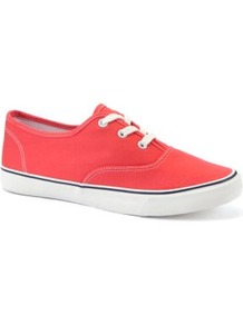 Coral Lace Up Trainers - predominant colour: coral; occasions: casual; material: fabric; heel height: flat; toe: round toe; style: trainers; finish: plain; pattern: plain