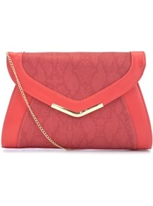 Coral Colour Block Clutch - predominant colour: coral; occasions: evening, occasion; type of pattern: light; style: clutch; length: hand carry; size: small; material: faux leather; pattern: animal print; finish: plain