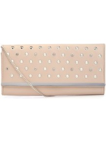 Cream And Silver Studded Metal Trim Clutch - predominant colour: ivory; occasions: evening, occasion; type of pattern: standard; style: clutch; length: hand carry; size: small; material: faux leather; embellishment: studs; pattern: plain; finish: plain