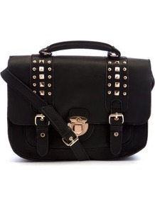 Black Stud Strap Satchel - predominant colour: black; occasions: casual, work; type of pattern: standard; style: satchel; length: across body/long; size: standard; material: faux leather; embellishment: studs; pattern: plain; finish: plain