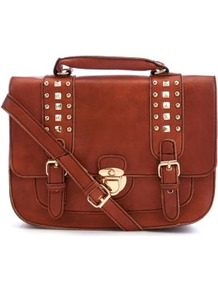 Orange Stud Strap Satchel - predominant colour: terracotta; occasions: casual, work; type of pattern: standard; style: satchel; length: across body/long; size: standard; material: faux leather; embellishment: studs; pattern: plain; finish: plain