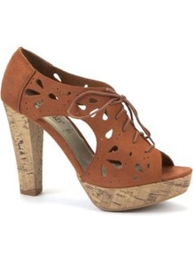 Tan Laser Cut Cork Sandal Heels - predominant colour: tan; occasions: casual, evening, holiday; material: fabric; heel: platform; toe: open toe/peeptoe; boot length: shoe boot; style: standard; finish: plain; pattern: plain; heel height: very high
