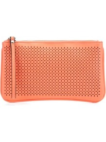 Neon Coral Cut Out Clutch - predominant colour: coral; occasions: casual, evening, occasion; type of pattern: standard; style: clutch; length: hand carry; size: small; material: faux leather; pattern: plain; finish: plain