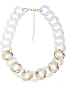 White And Gold Chunky Chain Necklace - predominant colour: white; occasions: casual, evening, holiday; style: standard; length: short; size: large/oversized; material: plastic/rubber; finish: plain; embellishment: chain/metal