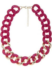 Fuchsia And Gold Chunky Chain Necklace - predominant colour: hot pink; occasions: casual, evening; style: choker/collar; length: short; size: large/oversized; material: chain/metal; finish: plain; embellishment: chain/metal
