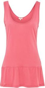Pink Peplum Vest - sleeve style: standard vest straps/shoulder straps; pattern: plain; back detail: cowl/draping/scoop at back; length: below the bottom; style: vest top; waist detail: peplum waist detail; predominant colour: pink; occasions: casual, holiday; neckline: scoop; fibres: cotton - 100%; fit: body skimming; sleeve length: sleeveless; texture group: cotton feel fabrics; pattern type: fabric; pattern size: standard