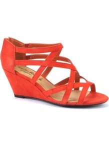 Wide Fit Orange Strappy Wedge Sandals - predominant colour: bright orange; occasions: casual, evening, holiday; material: fabric; heel height: mid; ankle detail: ankle strap; heel: wedge; toe: open toe/peeptoe; style: strappy; trends: fluorescent; finish: plain; pattern: plain