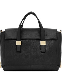 Sal Short Handle Handbag - predominant colour: black; occasions: casual, evening, work; type of pattern: standard; style: tote; length: handle; size: standard; material: leather; pattern: plain; finish: plain