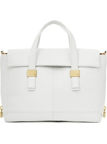 Sal Short Handle Handbag - predominant colour: white; occasions: casual, evening, work, holiday; type of pattern: standard; style: tote; length: handle; size: standard; material: leather; pattern: plain; finish: plain; embellishment: chain/metal