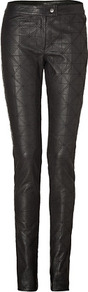 Black Quilted Leather Front Pants - length: standard; pattern: plain; waist: mid/regular rise; predominant colour: black; occasions: casual, evening; fibres: leather - 100%; texture group: leather; fit: skinny/tight leg; pattern type: fabric; style: standard; embellishment: quilted