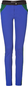 Electric Blue Multi Colorblock Skinny Pants - length: standard; waist: low rise; predominant colour: diva blue; secondary colour: emerald green; occasions: casual, evening; fibres: cotton - stretch; texture group: cotton feel fabrics; fit: skinny/tight leg; pattern type: fabric; pattern size: small &amp; light; pattern: colourblock; style: standard