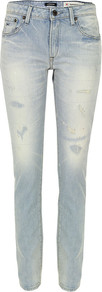 Elle Oss Light Wash Slim Boyfriend Jeans - length: standard; pattern: plain; pocket detail: traditional 5 pocket; style: slim leg; waist: mid/regular rise; predominant colour: denim; occasions: casual; fibres: cotton - 100%; jeans detail: washed/faded; texture group: denim; pattern type: fabric; pattern size: standard