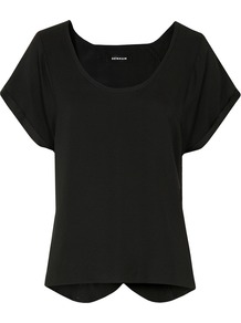 Florence St Black Top - pattern: plain; style: t-shirt; predominant colour: black; occasions: casual, evening, work, holiday; length: standard; neckline: scoop; fibres: silk - 100%; fit: straight cut; back detail: keyhole/peephole detail at back; sleeve length: short sleeve; sleeve style: standard; texture group: silky - light; pattern type: fabric; pattern size: standard