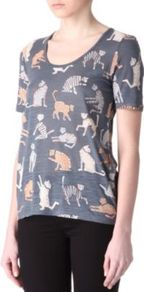 Nekos Cat Print T Shirt - style: t-shirt; predominant colour: mid grey; occasions: casual, work, holiday; length: standard; neckline: scoop; fit: loose; sleeve length: short sleeve; sleeve style: standard; pattern type: fabric; pattern size: big &amp; busy; pattern: patterned/print; texture group: jersey - stretchy/drapey; fibres: viscose/rayon - mix