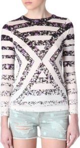 Exeter Printed Top - pattern: striped; secondary colour: white; predominant colour: black; occasions: casual, holiday; length: standard; style: top; fit: body skimming; neckline: crew; sleeve length: 3/4 length; sleeve style: standard; texture group: silky - light; trends: striking stripes; pattern type: fabric; pattern size: standard; fibres: viscose/rayon - mix
