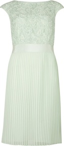 Ted Baker Aliana Lace Dress - style: shift; neckline: slash/boat neckline; sleeve style: capped; fit: tailored/fitted; pattern: plain; back detail: low cut/open back; predominant colour: pistachio; occasions: evening, occasion; length: on the knee; fibres: viscose/rayon - stretch; hip detail: structured pleats at hip; waist detail: narrow waistband; bust detail: contrast pattern/fabric/detail at bust; sleeve length: short sleeve; texture group: lace; pattern type: fabric; pattern size: standard