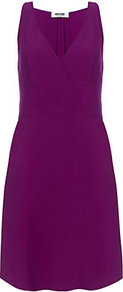 A Line Dress - style: faux wrap/wrap; length: mid thigh; neckline: low v-neck; pattern: plain; sleeve style: sleeveless; waist detail: fitted waist; predominant colour: purple; occasions: casual, evening; fit: fitted at waist &amp; bust; fibres: polyester/polyamide - mix; hip detail: soft pleats at hip/draping at hip/flared at hip; sleeve length: sleeveless; pattern type: fabric; texture group: jersey - stretchy/drapey