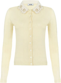 Leather Collar Cardigan - neckline: shirt collar/peter pan/zip with opening; pattern: plain; predominant colour: ivory; occasions: casual, evening, work; length: standard; style: standard; fibres: cotton - mix; fit: standard fit; sleeve length: long sleeve; sleeve style: standard; texture group: knits/crochet; pattern type: knitted - other; pattern size: small & light