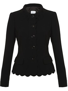 Laser Cut Scalloped Jacket - pattern: plain; style: single breasted blazer; bust detail: added detail/embellishment at bust; predominant colour: black; occasions: casual, evening, work, occasion; length: standard; fit: tailored/fitted; fibres: polyester/polyamide - mix; collar: shirt collar/peter pan/zip with opening; waist detail: fitted waist; sleeve length: long sleeve; sleeve style: standard; texture group: crepes; collar break: high; pattern type: fabric; pattern size: standard