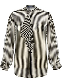 Nathalie Blouse - neckline: round neck; pattern: vertical stripes; sleeve style: balloon; style: blouse; predominant colour: black; occasions: casual, evening, work; length: standard; fibres: silk - 100%; fit: straight cut; sleeve length: long sleeve; texture group: sheer fabrics/chiffon/organza etc.; trends: striking stripes; bust detail: tiers/frills/bulky drapes/pleats; pattern type: fabric; pattern size: standard