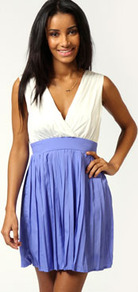 Danika Pleated Skirt V Neck Skater Dress - length: mid thigh; neckline: low v-neck; fit: fitted at waist; sleeve style: sleeveless; waist detail: fitted waist; back detail: low cut/open back; predominant colour: lilac; occasions: casual, evening, occasion; style: fit & flare; fibres: polyester/polyamide - 100%; sleeve length: sleeveless; texture group: cotton feel fabrics; pattern size: standard; pattern: colourblock