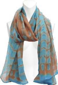 Keisha Silk Stole. - predominant colour: turquoise; secondary colour: terracotta; occasions: casual, evening, work, occasion, holiday; type of pattern: standard; style: regular; size: standard; material: silk; pattern: tie dye