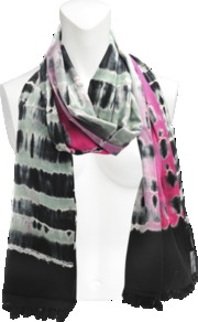 Artus Tie And Dye Stole. - secondary colour: hot pink; predominant colour: black; occasions: casual; type of pattern: standard; style: regular; size: standard; material: silk; embellishment: tassels; pattern: tie dye