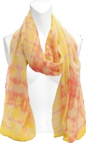 Keisha Silk Stole. - secondary colour: primrose yellow; predominant colour: coral; occasions: casual, work, holiday; type of pattern: standard; style: regular; size: standard; material: silk; pattern: tie dye