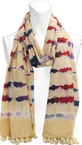 Artus Tie And Dye Stole. - occasions: casual; predominant colour: multicoloured; type of pattern: standard; style: regular; size: standard; material: fabric; embellishment: tassels; pattern: tie dye