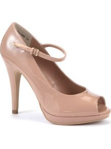 Wide Fit Nude Patent Peeptoe Bar Court Shoes - predominant colour: blush; occasions: evening, work, occasion; material: faux leather; ankle detail: ankle strap; heel: platform; toe: open toe/peeptoe; style: courts; finish: patent; pattern: plain; heel height: very high