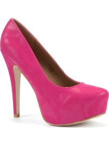 Fuchsia Snake Print Platform Court Shoes - predominant colour: hot pink; occasions: evening, occasion; material: fabric; heel height: high; heel: platform; toe: pointed toe; style: courts; finish: plain; pattern: plain