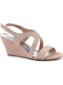 Nude Diamante Strap Wedge Sandals - predominant colour: nude; occasions: evening, occasion, holiday; material: fabric; heel height: mid; embellishment: crystals; ankle detail: ankle strap; heel: wedge; toe: open toe/peeptoe; style: standard; finish: plain; pattern: plain