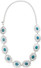Silver Filigree Turquoise Stone Belt - predominant colour: turquoise; occasions: casual, evening, work, holiday; style: pendant; length: mid; size: large/oversized; material: chain/metal; finish: metallic; embellishment: jewels